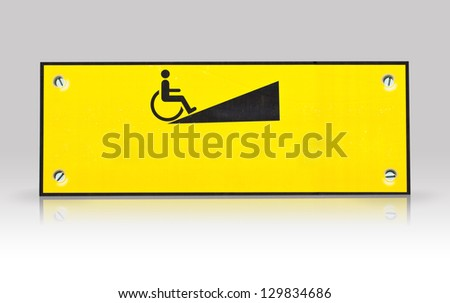 wheelchair  way sign isolated with refection - stock photo