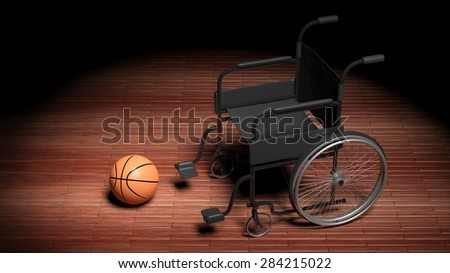Wheelchair with basketball ball on wooden parquet floor - stock photo