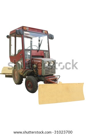 wheeled tractor under the white background - stock photo