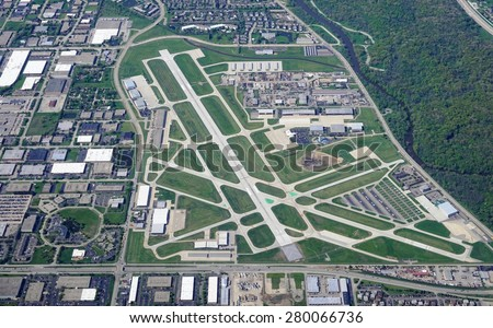 WHEELING, IL -13 MAY 2015- An aerial view of the Chicago Executive Airport (PWK), formerly Palwaukee Municipal Airport, the third busiest airport in Illinois. - stock photo