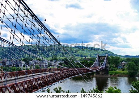 Wheeling Suspension Bridge - stock photo