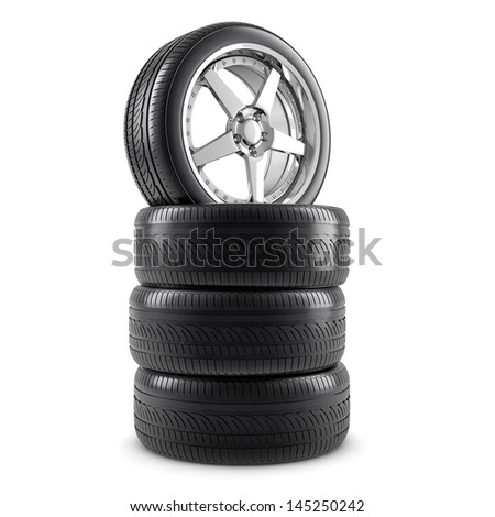 Wheels and tires - stock photo