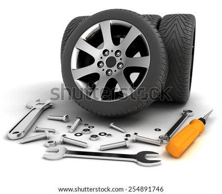Wheels and Tools. Car service. Isolated 3D image - stock photo