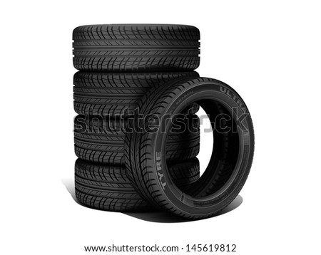 Wheels isolated on white. 3d illustration.  - stock photo