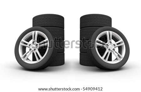 wheels isolated on white 3d