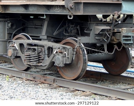 wheels of a railroad car - stock photo