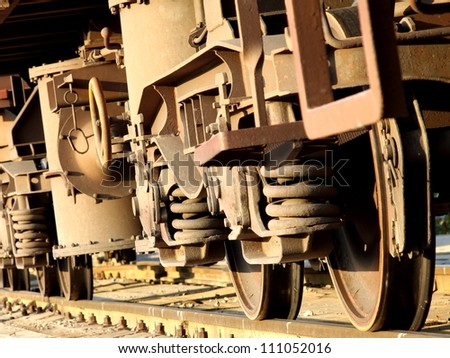 Wheels of the freight train - stock photo