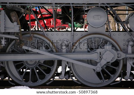 wheels of the old express steam train