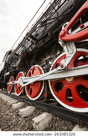wheels of the old train  - stock photo