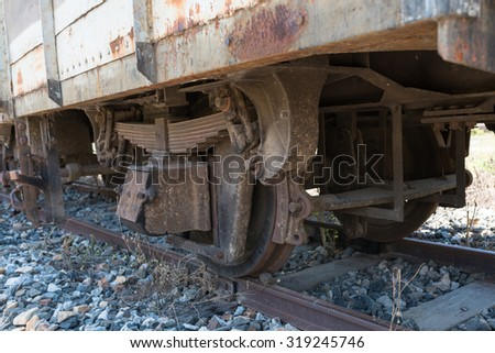 Wheels of the old Train in thailand - stock photo