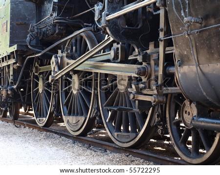wheels of vintage steam locomotive - stock photo