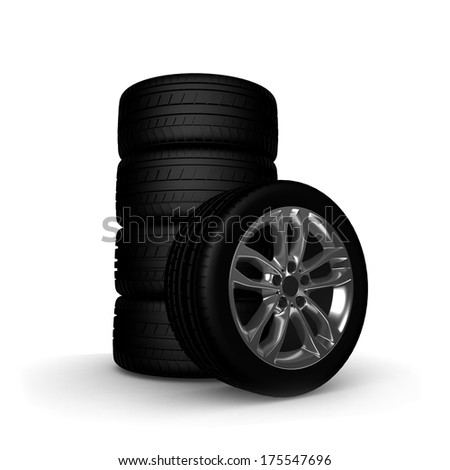Wheels, tires. on white. 3D Real illustration.