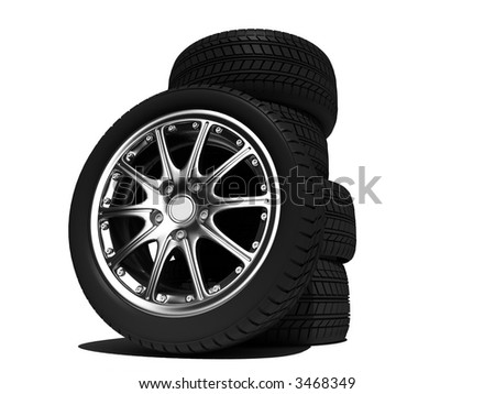 wheels with steel rims over the white background - stock photo