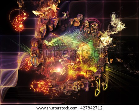 When Numbers Dream series. Abstract composition of fractals,  natural forms and conceptual particles suitable as element in projects related to math, design, magic, philosophy and science of nature