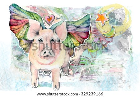 When Pigs Fly Flying Pig Illustration in Pastel Colors - stock photo