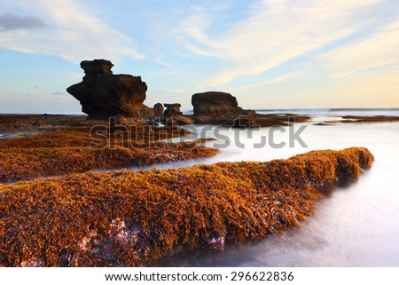 When the water dropped to seeing orange or red algae on the Melasti beach at sunset in bali indonesia - stock photo
