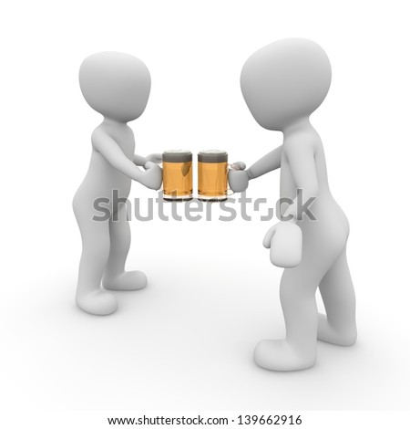 When you drink alcohol you say cheers to the other. - stock photo