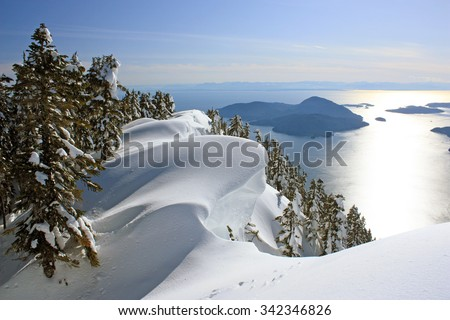 Where the Pacific Ocean meets the mountains: Winter Landscape near Vancouver, British Columbia, Canada - stock photo