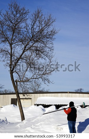 Where to start? - Winter time surveying. - stock photo