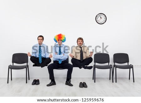 Which candidate to pick for the job - unusual subjects to the interview - stock photo