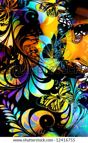 whimsical abstract butterfly jungle fern design with bright colors and bold scroll cut out - stock photo