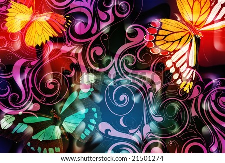whimsical scroll design with bright, colorful jewel tone butterflies and illuminating highlights - stock photo