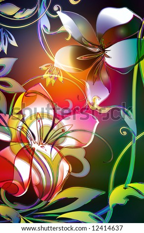 whimsical scroll viney leaf motif with tropical plumeria and lilly flowers. Decorated colored outlines and watercolor background. - stock photo