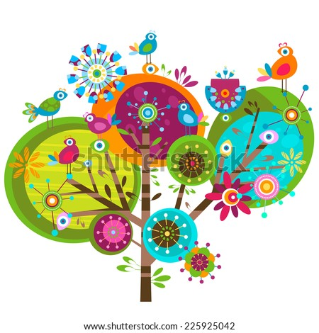 whimsy flower tree and birds - stock photo