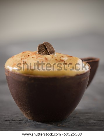 Whipped coffee mousse in a dark chocolate cup. Very shallow depth of field.Focus on the bean. - stock photo