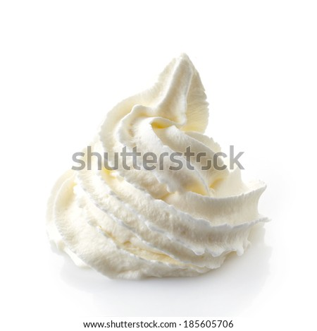 whipped cream isolated on a white background - stock photo