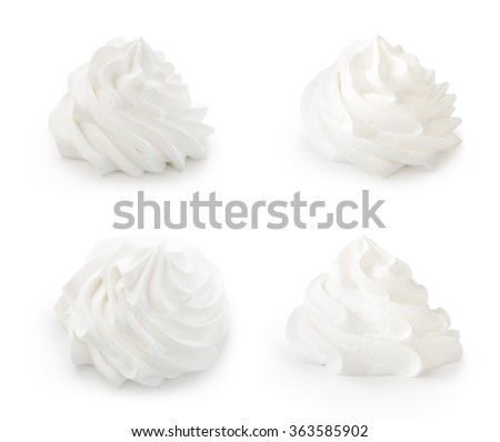Whipped cream isolated on a white background. Front view. - stock photo