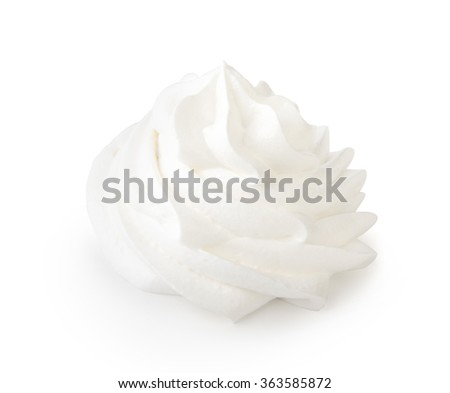 Whipped cream isolated on a white background with clipping path. Front view.
