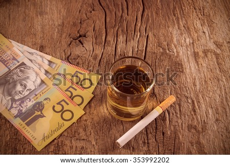 whisker with australian currency,cigarettes