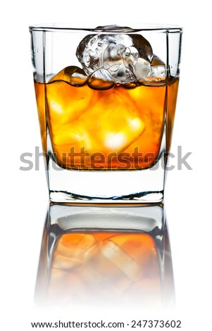 whiskey and natural ice isolated on white background
