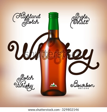 Whiskey bottle and Labels Set. Kinds of whiskey - stock photo