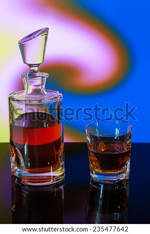 whiskey bottle on abstract background