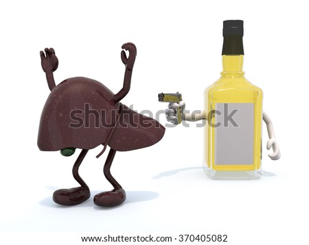 whiskey bottle with arms wielding gun to the human liver, 3d illustration - stock photo