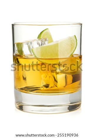 Whiskey cocktail with lime. Isolated on white background - stock photo