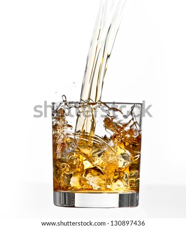 whiskey glass on white background - stock photo