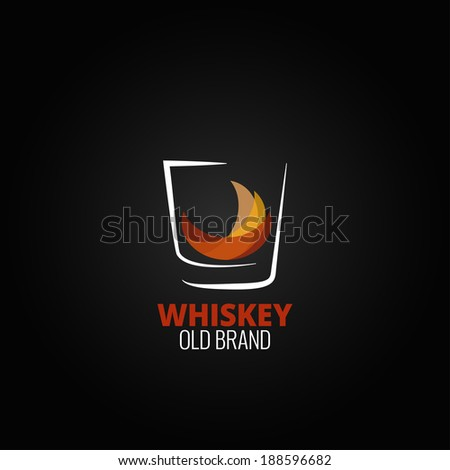 whiskey glass splash design background illustration - stock photo