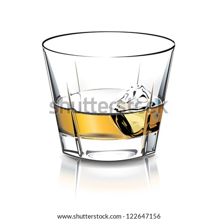 Whiskey glass with ice cube