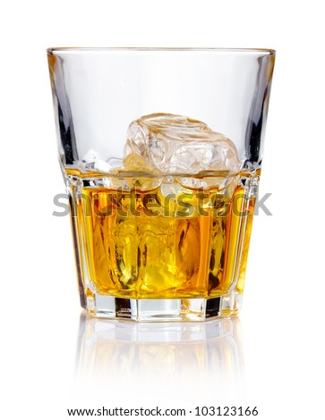 Whiskey glass with ice cubes and reflections isolated