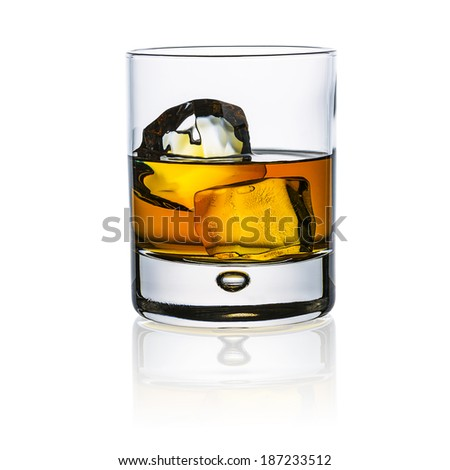 whiskey glass with ice cubes rock isolated on white background and reflection alcohol luxury bourbon beverages - stock photo
