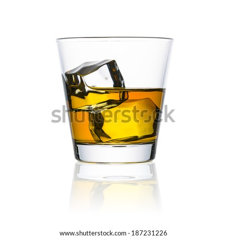 whiskey glass with ice cubes rocks isolated on white background alcohol drunk bourbon - stock photo