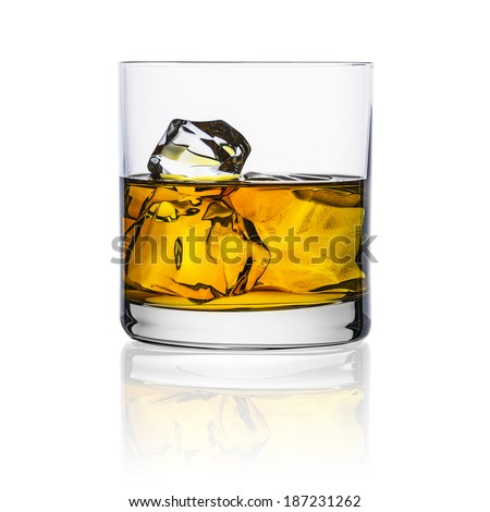 whiskey glass with ice cubes rocks isolated on white background alcohol scotland - stock photo