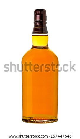 Whiskey in bottle on white background - stock photo