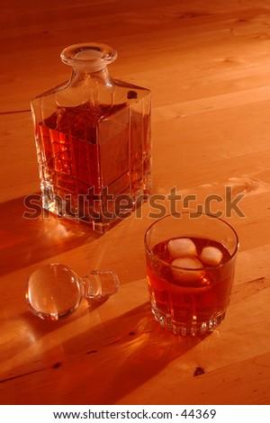 whiskey on the rocks - stock photo