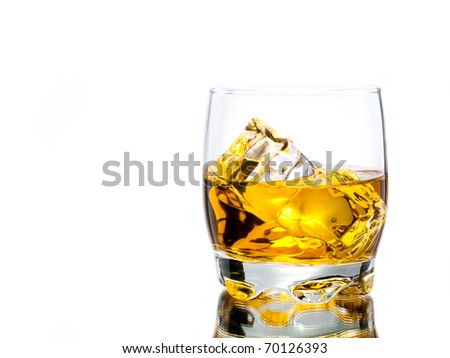 whiskey on the rocks, vibrant colors