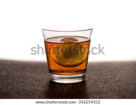 Whiskey, One Cube - stock photo