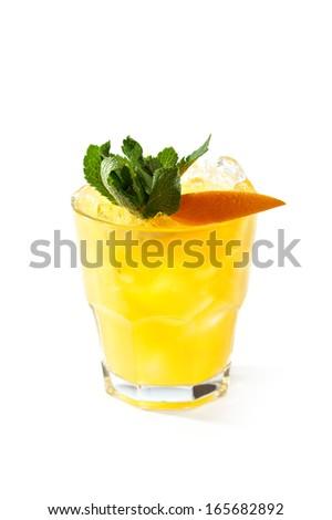 Whiskey Peach Smash Cocktail - stock photo